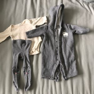 Lot of 3 items, 3 months, baby bunting, leggings